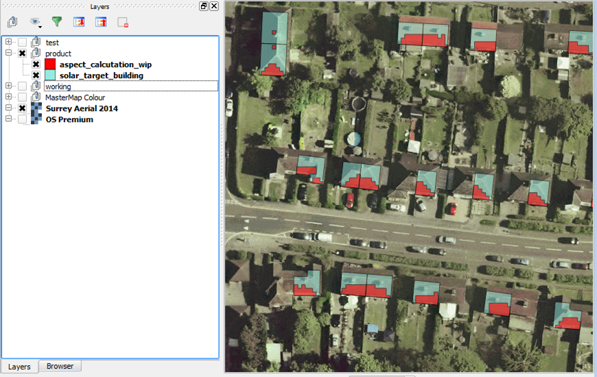 QGIS Rooftop Aspect Analysis - Surrey Digital Services